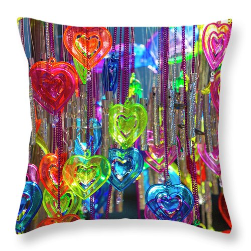 Wind Chime Throw Pillow featuring the photograph Heart Shaped Wind Chimes, India by Stuart Dee