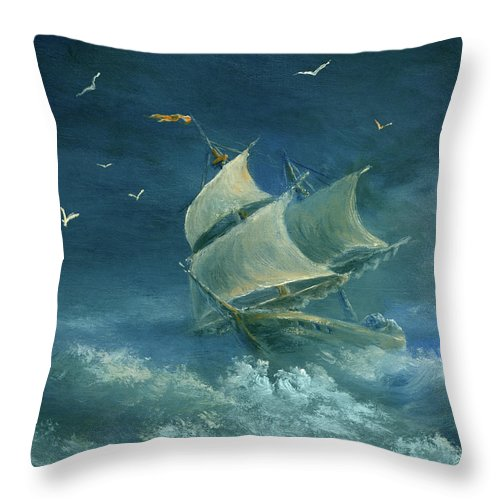 Image Throw Pillow featuring the digital art Heavy Gale by Pobytov