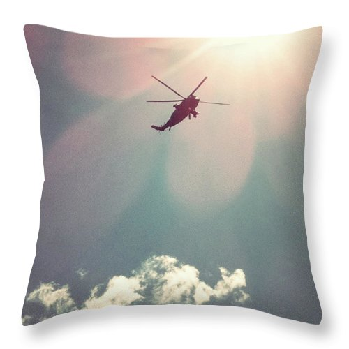 Mid-air Throw Pillow featuring the photograph Helicopter Hovering Overhead by Jill Tindall