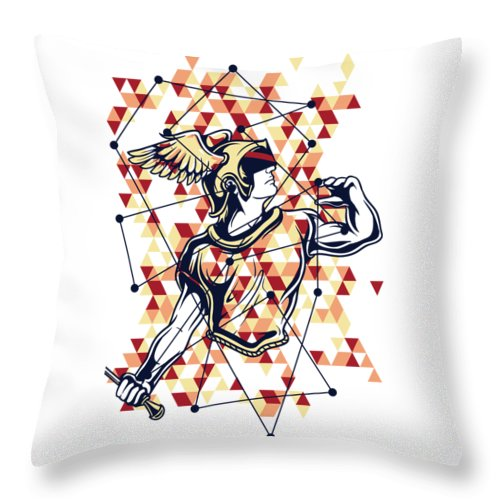 Greek-mythology Throw Pillow featuring the digital art Hermes Greek God by Passion Loft