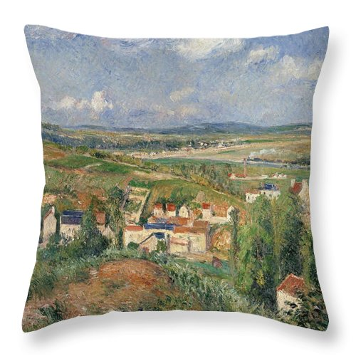 Camille Pissarro Throw Pillow featuring the painting Hermitage In Summer, Pontoise, 1877 by Camille Pissarro