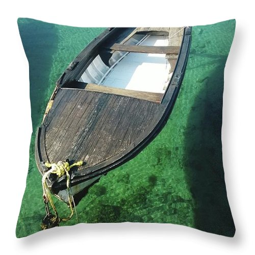 Tranquility Throw Pillow featuring the photograph High Angle View Of Boat Moored On Sea by Iva Saric / Eyeem