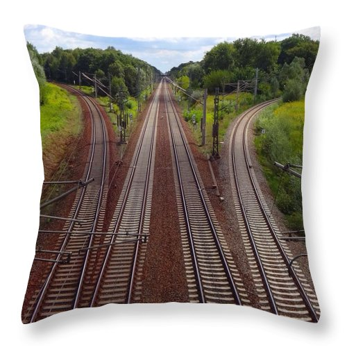 Tranquility Throw Pillow featuring the photograph High Angle View Of Empty Railroad Tracks by Thomas Albrecht / Eyeem