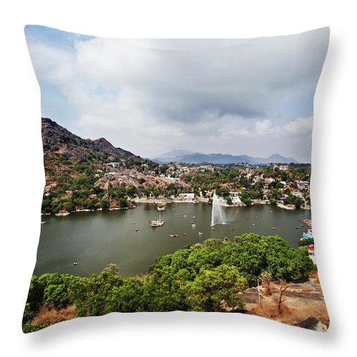 Tranquility Throw Pillow featuring the photograph High Angle View Of Fountain In Nakki by Uniquely India