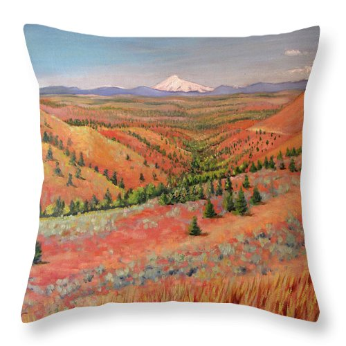 Oil Painting Throw Pillow featuring the painting High Desert View - Mt. Hood by Patricia Young
