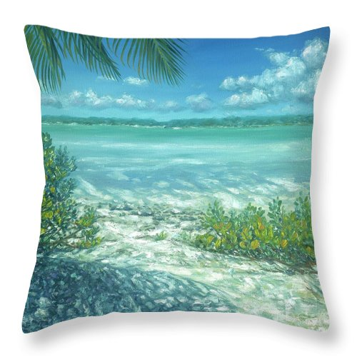 Highborn Cay Throw Pillow featuring the painting Highborne Cay by Danielle Perry