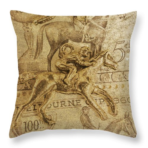 Vintage Throw Pillow featuring the photograph Historic Horse Racing by Jorgo Photography - Wall Art Gallery
