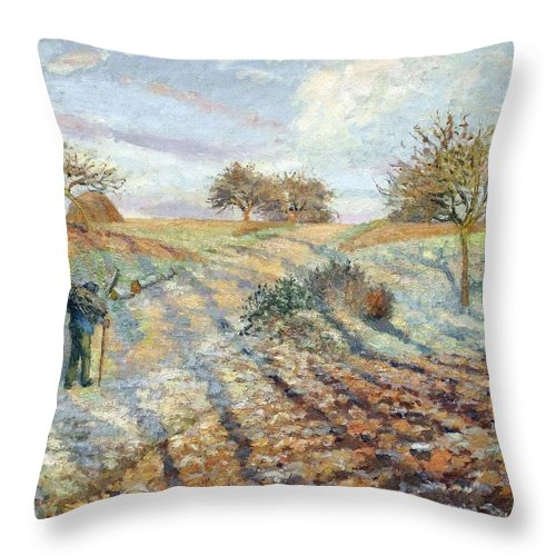 Camille Pissarro Throw Pillow featuring the painting Hoarfrost At Ennery, 1873 by Camille Pissarro