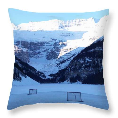 Scenics Throw Pillow featuring the photograph Hockey Net On Frozen Lake by Ascent/pks Media Inc.