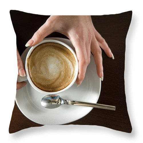 Spoon Throw Pillow featuring the photograph Holding Cappuccino by 1001nights