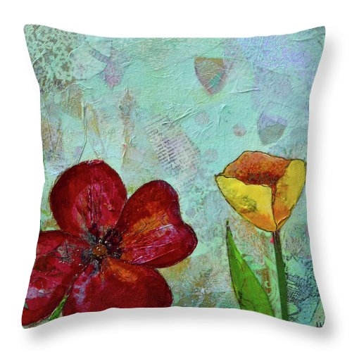 Wall Art Metal Prints Tulip Flower Tulips Red Yellow Blue Green Garden Tulip Festival Holland Holland Mi Michigan Red Flowers Yellow Flower Yellow Tulip Throw Pillow featuring the painting Holland Tulip Festival IIi by Shadia Derbyshire