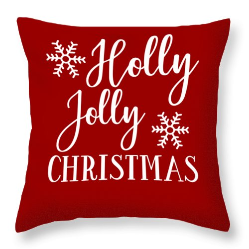 Holly Jolly Christmas Throw Pillow featuring the digital art Holly Jolly Christmas by Print My Mind