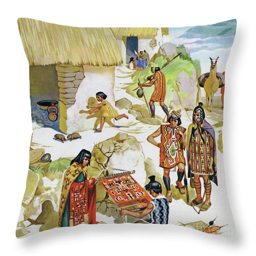 History; Village; Food; Historical; Home; Textile; Art; Beautiful; Textiles; Pottery; Woven; Chief; Pigs; South America; Diet; Designs; Crops; Peru; Mats; Llama; Skins; Guinea; Ad 100; Peruvian Throw Pillow featuring the painting Home In Peru, Circa Ad 100 by Angus McBride
