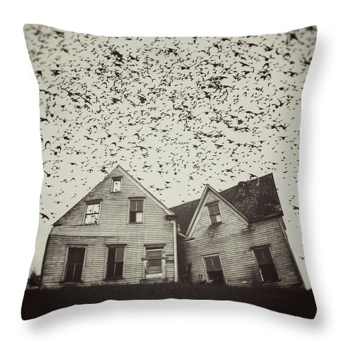 Spooky Throw Pillow featuring the photograph Home Of Murmuration by Shaunl