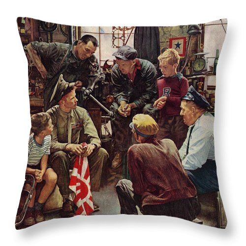 Flags Throw Pillow featuring the drawing Homecoming Marine by Norman Rockwell