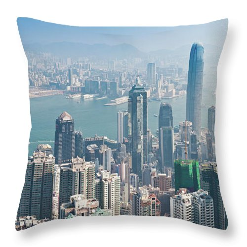 New Territories Throw Pillow featuring the photograph Hong Kong Iconic Skyscraper City by Fotovoyager