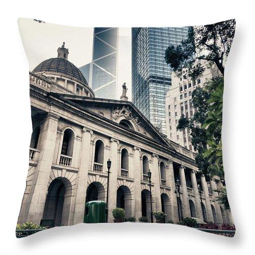 Chinese Culture Throw Pillow featuring the photograph Hong Kong Legislative Council by Laoshi