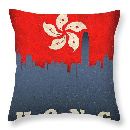 Hong Kong Throw Pillow featuring the mixed media Hong Kong World City Flag Skyline by Design Turnpike