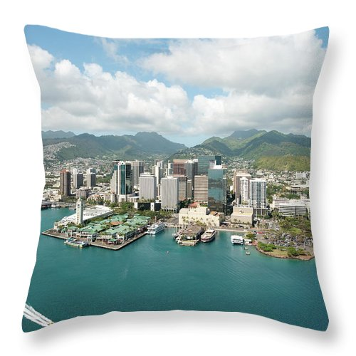 Honolulu Throw Pillow featuring the photograph Honolulu Skyline Shot From A Helicopter by 400tmax