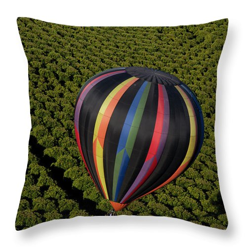 Tranquility Throw Pillow featuring the photograph Hot Air Balloon by Holly Harris