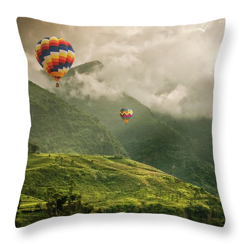 Tranquility Throw Pillow featuring the photograph Hot Air Balloons Over Tea Plantations by Nicolo Sertorio