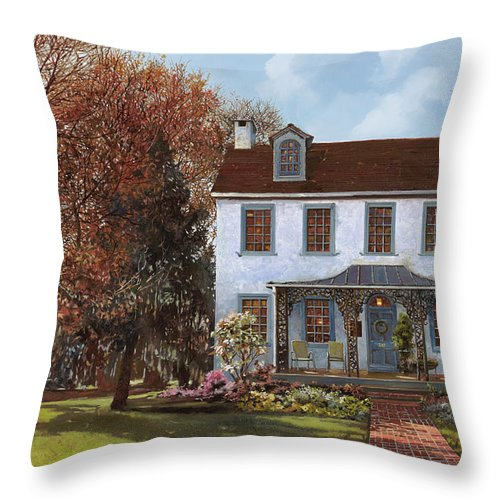 Du Portail Throw Pillow featuring the painting house Du Portail by Guido Borelli