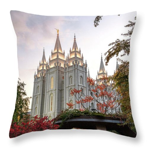 Mormon Throw Pillow featuring the photograph House Of The Lord by Dustin LeFevre
