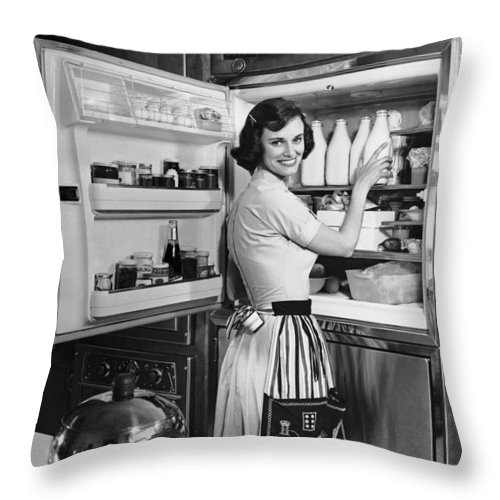 Milk Throw Pillow featuring the photograph House Wife Removing Milk From by George Marks