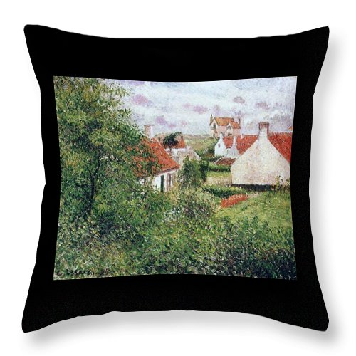 Camille Pissarro Throw Pillow featuring the painting Houses At Knocke, Belgium, 1894 by Camille Pissarro