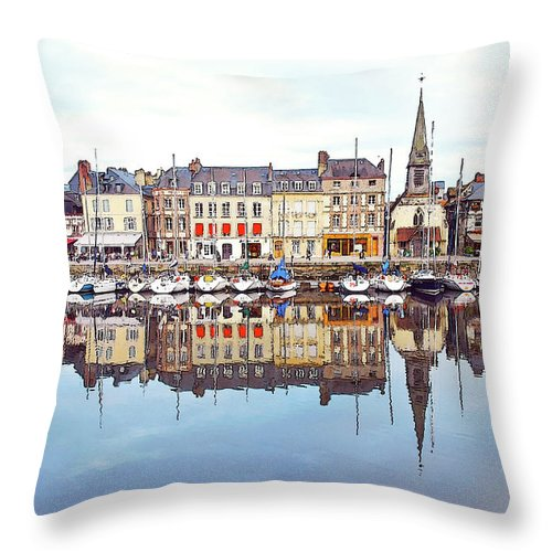 Tranquility Throw Pillow featuring the photograph Houses Reflection In River, Honfleur by Ana Souza