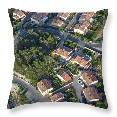 Tranquility Throw Pillow featuring the photograph Housing Development, Peypin, Aerial View by Sami Sarkis