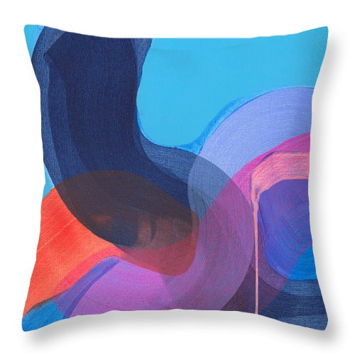 Abstract Throw Pillow featuring the painting How Did It Get To Be So Late? by Claire Desjardins