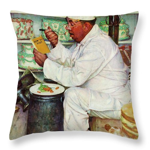 Bakers Throw Pillow featuring the drawing How To Diet by Norman Rockwell