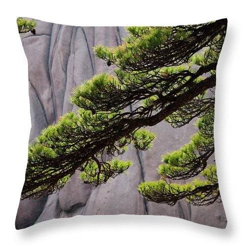 Chinese Culture Throw Pillow featuring the photograph Huang Shan Landscape, China by Mint Images/ Art Wolfe