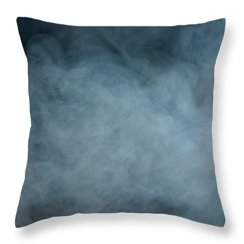 Air Pollution Throw Pillow featuring the photograph Huge White Cloud Of Smoke In A Dark Room by Lastsax