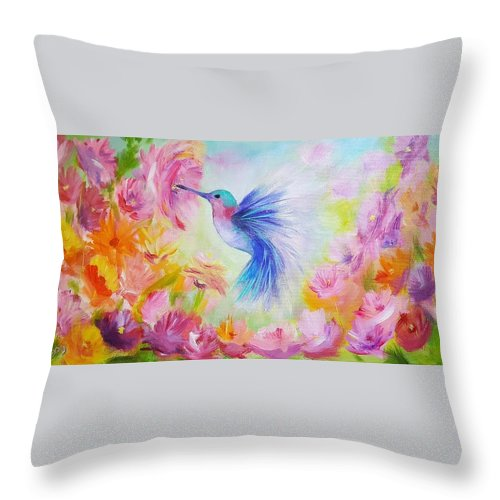 #hummingbird #bird #shouth #flowers #garden #eden #paradise #fly #flower #love #live #colorful #wings Throw Pillow featuring the painting Hummingbird by Anna Bogusevich