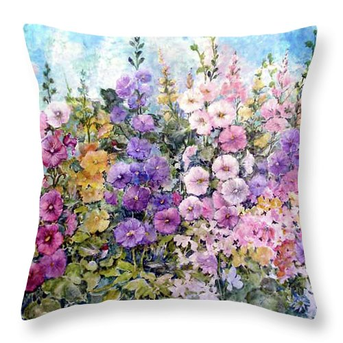 Flowers Throw Pillow featuring the painting Hummingbird Heaven by Lois Mountz