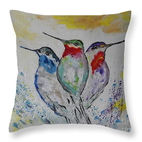 Hummingbirds Throw Pillow featuring the painting Hummingbirds 3 by Ella Kaye Dickey