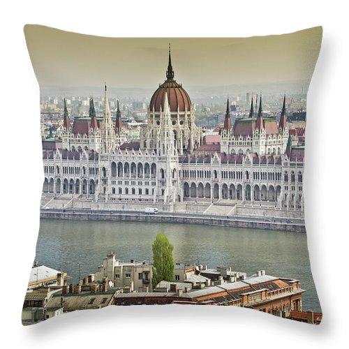 Hungarian Parliament Building Throw Pillow featuring the photograph Hungarian Parliament Building by (c) Thanachai Wachiraworakam