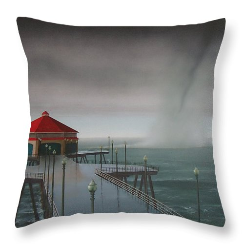 Huntington Beach Throw Pillow featuring the painting Huntington Beach Pier waterspout by Philip Fleischer