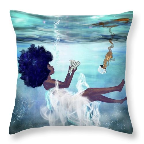 Bible Throw Pillow featuring the painting I aint drowning by Artist RiA