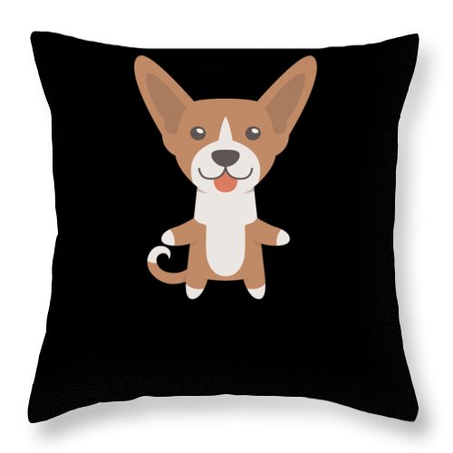 Freaking-love Throw Pillow featuring the digital art I Just Freaking Love Basenjis Cute Dog Design by DogBoo