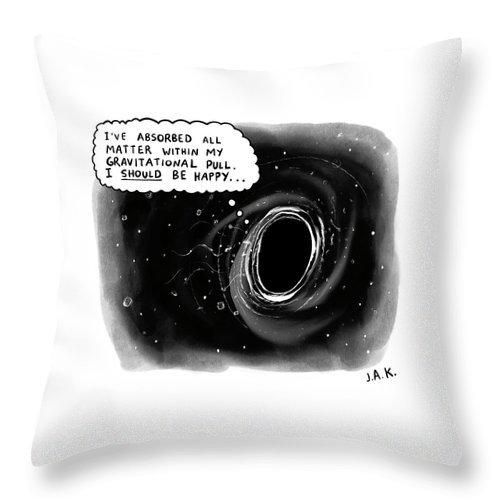 Captionless Throw Pillow featuring the drawing I Should Be Happy by Jason Adam Katzenstein