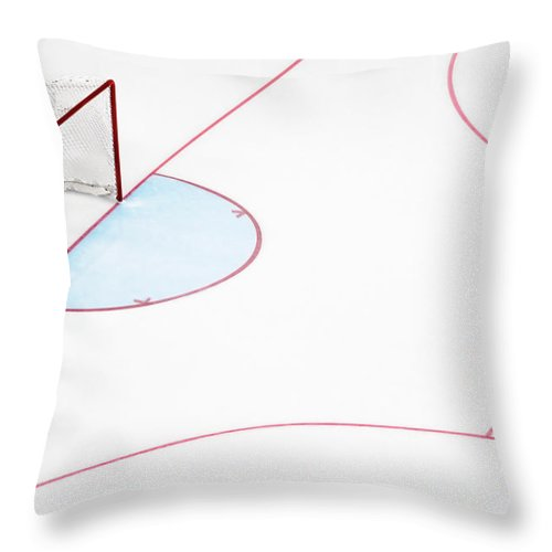 Sport Throw Pillow featuring the photograph Ice Hockey Goal Net And Empty Rink by David Madison