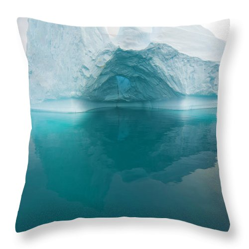 Iceberg Throw Pillow featuring the photograph Iceberg And Reflections, Antarctic by Eastcott Momatiuk