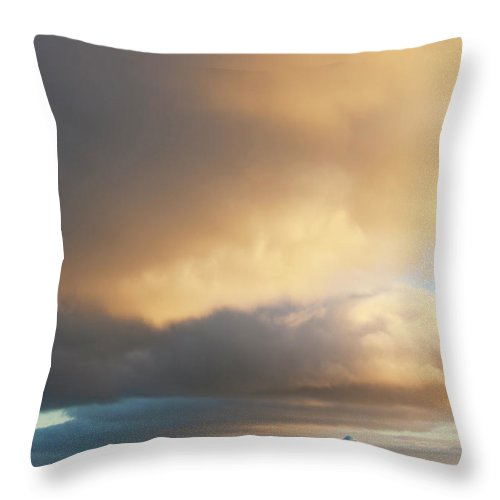 Iceberg Throw Pillow featuring the photograph Icebergs At Sunrise In The Weddell Sea by Mint Images - David Schultz