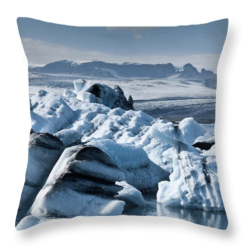 Iceberg Throw Pillow featuring the photograph Icebergs In Iceland by Icelandic Landscape