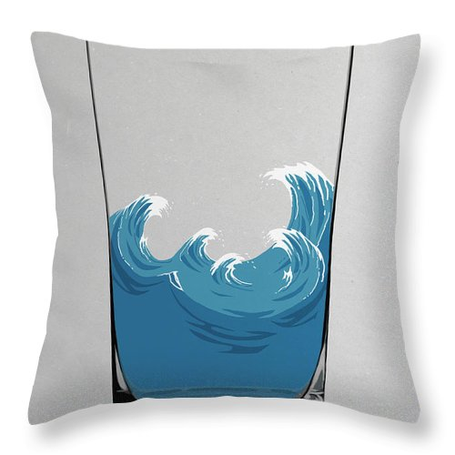 Concepts & Topics Throw Pillow featuring the digital art Illustration Of Choppy Waves In A Water by Malte Mueller