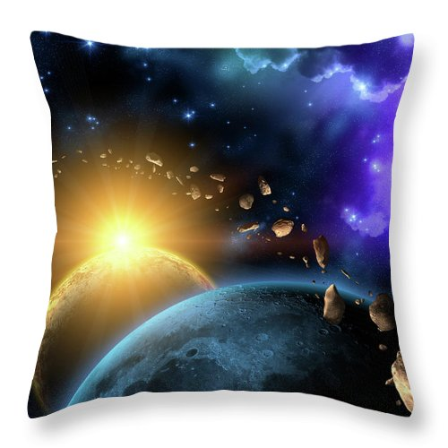 Scenics Throw Pillow featuring the digital art Illustration Of The Earth, Moon, Sun by Kalistratova