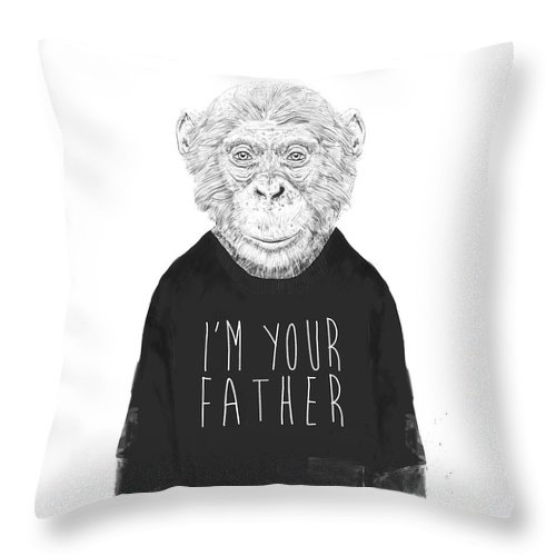 Monkey Throw Pillow featuring the mixed media I'm Your Father by Balazs Solti